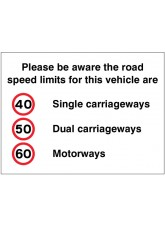 Please Be Aware the Road Speed Limits for this Vehicle Are 40 -50 -60mph