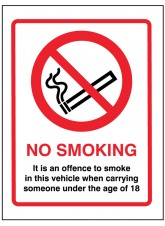 No Smoking in this Vehicle when Someone Under 18 Is Present