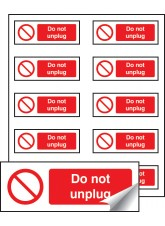 10 x Do Not Unplug Labels - 40 x 18mm