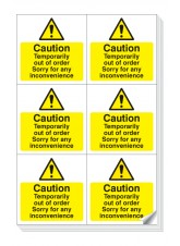 6 x Caution Temporarily Out of Order Labels - 105 x 99mm
