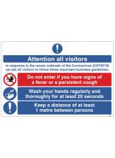 Coronavirus Attention all Visitors - 1m / 2m / Generic Distance Options