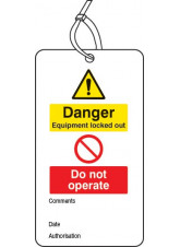 Lockout Tag - Danger Equipment Locked Out Do Not Operate - 80 x 150mm (Pack of 10)