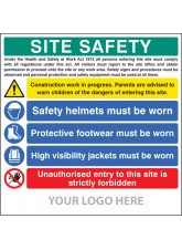 Site Safety Board - Helmets - Footwear - Hi Vis - Unauthorised Entry - Site Saver Sign 1220 x 1220mm