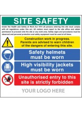 Site Safety Board - Helmets - Hi-vis - Unauthorised Entry - Site Saver Sign 1220 x 1220mm