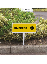 Diversion Right - White Powder Coated Aluminium - 450 x 150mm (800mm Post)