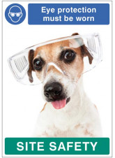 Eye protection must be worn - dog poster 420x594mm synthetic paper