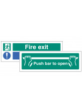 Fire Exit - Keep Clear / Push Bar to open - Double Sided Window Sticker