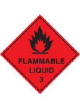 Roll of 100 Flammable Liquid 3 Labels - Roll of 100 100mm
