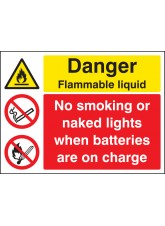 Flammable Liquid No Smoking/naked Lights Batteries on Charge